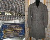 Vintage 80s Pendleton wool plaid overcoat trenchcoat coat mens size 44
