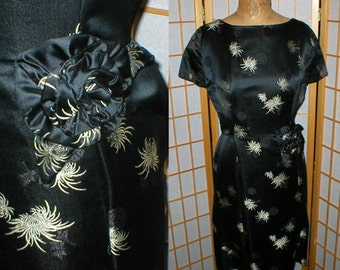 Vintage 50s black silk asian wiggle dress size medium / large