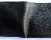 Black Leather Single Fold Wallet with Hidden Pocket and Many Card Pockets