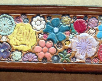 Brown Border Leather OOAK Wrist Band Cuff with Flower Garden Design