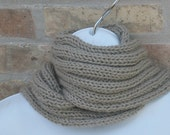 Hand Knit Scarf - Ribbed Scarf in Taupe - Unisex scarf - Fall, Winter Accessories - Womens Scarf - Mens Scarf