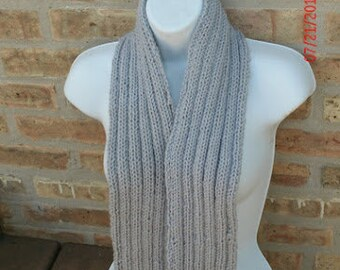Hand Knit Scarf - Ribbed Scarf in gray - Fall Accessories - Winter Accessories - Unisex Scarf - Cyber Monday Etsy - Black Friday Etsy