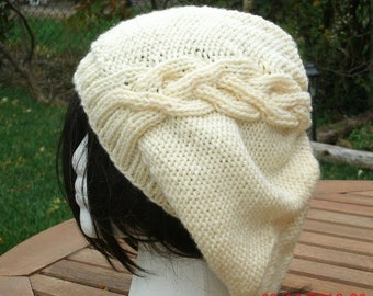 Knit Hat - The Cableret in Cream - Womens Hat - Womens Accessories - Slouch Hat