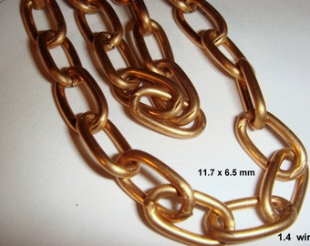 Vintage 5 Feet Gorgeous Aged Heavily Brass Coated Steel Flat Oval 11.7X6.5mm  Link Chain AM7