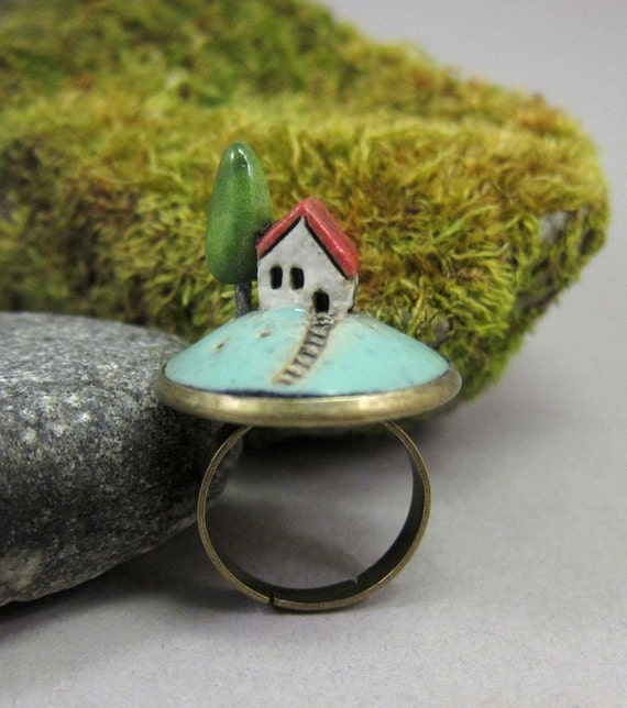 Turquoise Morning...Miniature Landscape Ring in Stoneware