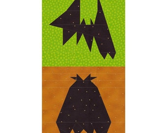 Two Bats Paper Pieced Quilt PDF Pattern by MadCreekDesigns