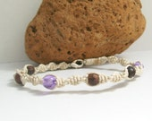 Macrame Hemp Twister Bracelet with Dark Brown and Shiney Purple Beads