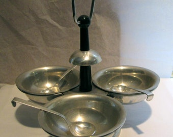 Vintage Aluminum Spinning Sauce Condiment Server Italy