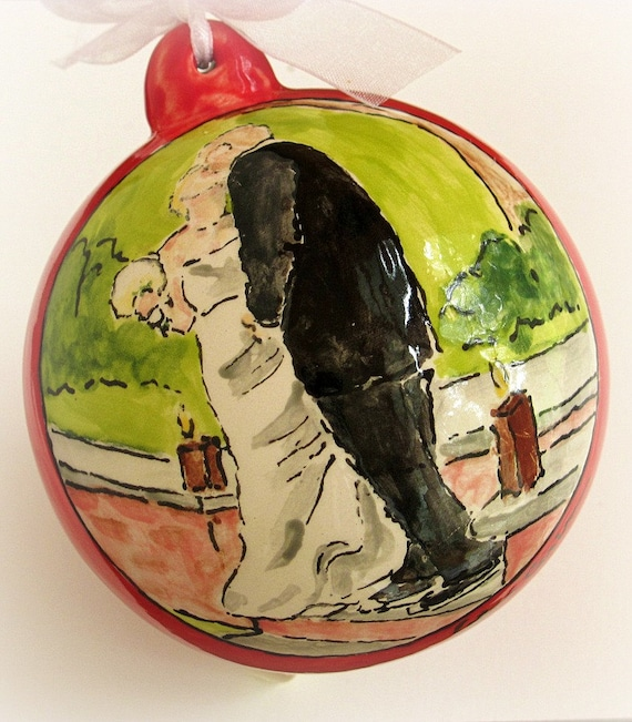 Custom first Christmas ornament married, wedding gift, personalized names, date from your photo by Cathie Carlson