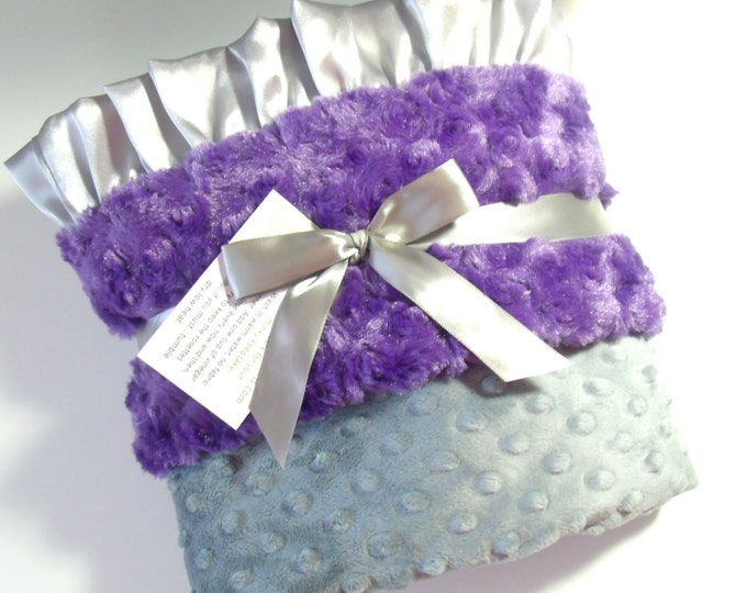 Purple Gray minky Baby Blanket for Baby Girl - Purple Rose Swirl Can Be Personalized