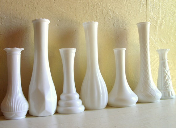 Instant Collection of White Milk Glass Vases 7 Seven