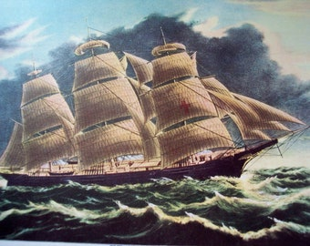 Clipper Ship, Classic Currier and Ives, Vintage 1942 print Dreadnought  X2R