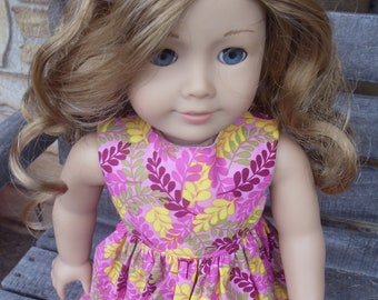 18 inch Doll Clothes - Pink  Ferns Dress - fits American Girl