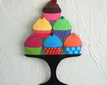 Metal Wall Art Cupcake Sculpture Recycled Metal Kitchen Wall Decor Baker Chef Colorful Whimsical 9 x 14