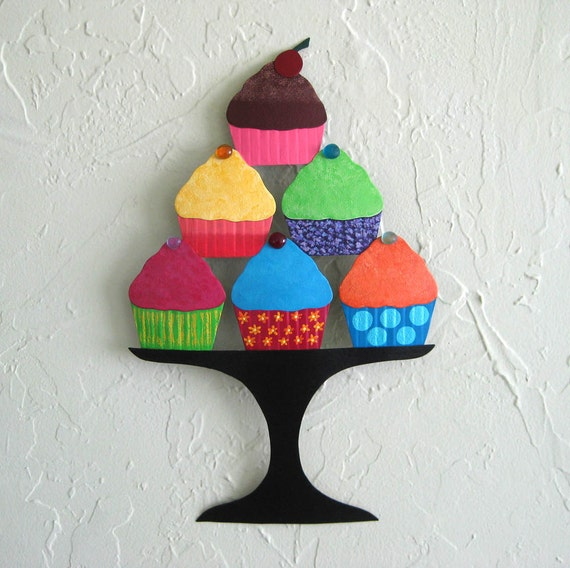 Metal Wall Art Cupcake Sculpture Recycled Metal Kitchen Wall