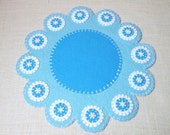 Christmas / Winter Penny Rug with Snowflake Buttons - 15.5""