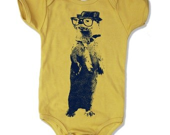 Baby One-Piece OTTER (in a Fedora) -  american apparel - (10 Color Options)  - FREE Shipping