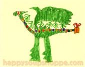 Holiday Dragon A2 Christmas Card by AZRO Hand Drawn Print