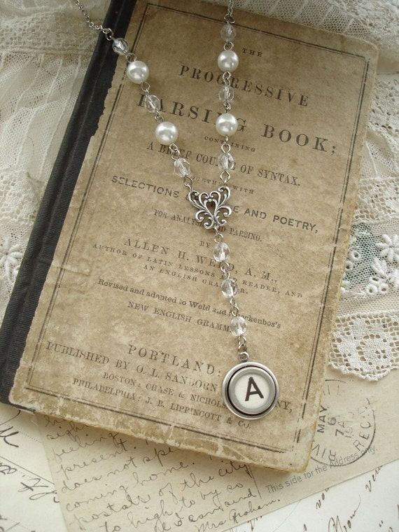 Typewriter Key Jewelry - Letter A Necklace. Vintage Typewriter Key Necklace. Antique Silver, White Pearls & Crystals. Monogram Necklace.