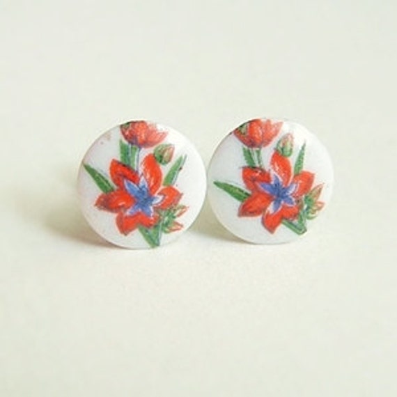 Small Floral Post Earrings Vintage Glass Gladiolus Cameo Studs Hypoallergenic Red Flower