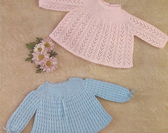 """PDF Knitting Pattern Baby Patterned Angel Top/Dresses to fit Sizes 18-19"""" (X206)"""