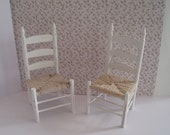"Chairs, ladderback , two  with mock yarn  ""rush"" seats,. a dollhouse mini"