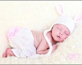 crochet baby hat, white bunny earflap hat with pink ears, newborn photography
