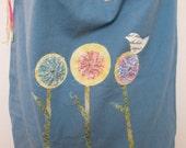 Cotton Canvas Bag, Appliqued Tote, Over the Shoulder Bag, Three Flowers in a Row Design, Diaper Bag, Travel Bag, Beach Bag, Blue Tote Bag
