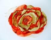 Gold and Orange Flower Accessory, Bridal Sash, Wedding, Maternity Sash