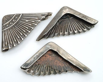 Antique Trio of Matched English Sterling Silver Corners - Hallmarked - decorative DIY additions to note pads, wallets, handbags, etc.