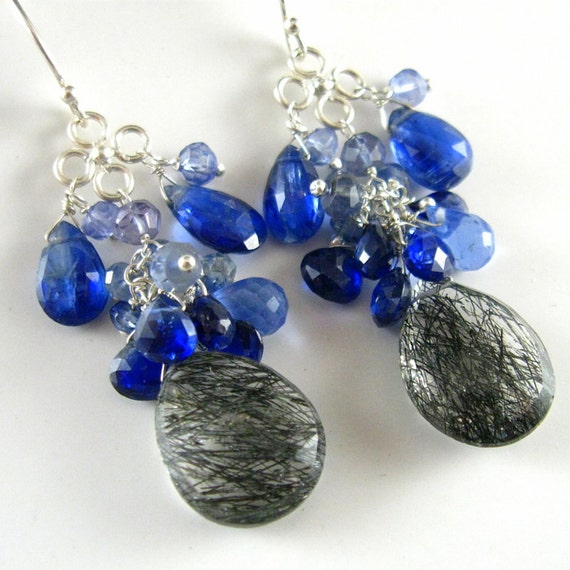 Tourmalinated Quartz, Kyanite, and Blue Topaz Sterling Earrings