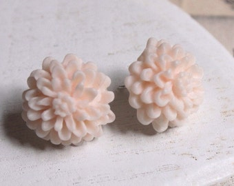 Pale Pink Flower Earring STUDS or CLIP Earrings Small Pink Studs 12mm Pale pink Clips wedding Bridesmaids Clipons for girls bridal E141
