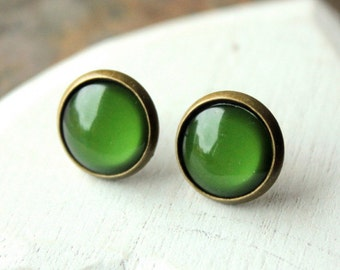 Dark Green Earrings Green STUD earrings or CLIP earrings antique brass earrings Modern simple green Post Earring clipons or pierced E453