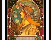 "Mucha Print: ""La Plume Zodiac"" - Art Nouveau - 1897 Giclee Fine Art Print 11 x 14"