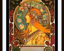 "Mucha ""La Plume Zodiac"" ca  1897 ~ Giclee Fine Art Print ~ Art Nouveau"