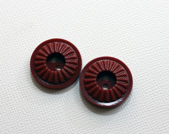 Milk Chocolate Hued Brown Vintage Buttons - Scored Edge, Sew-Through (12) 20 mm sz