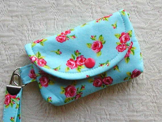 Small Snap Wristlet  ...Roses in Aqua