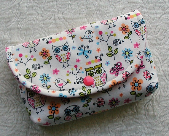 Large Snap Pouch .. Owls and Birds