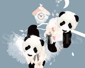 Panda Bears Bedroom Art Print - 'I Heart Pandi Bears' by Schmooks