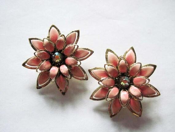 Vintage Coro Enamel Flower Earrings