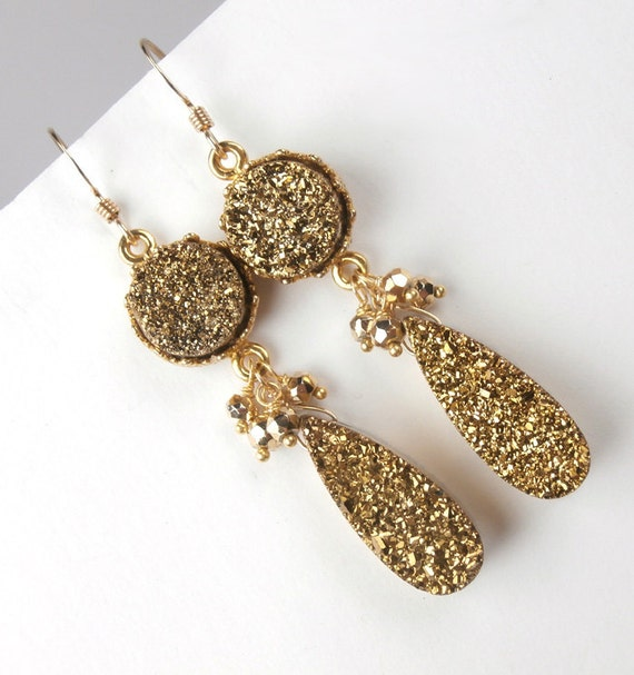 Druzy Earrings Gold Druzy Long Dangle Earrings Gold Titanium Bezel Set Cluster Dangle Earrings Fall 2012 Luxury Fashion