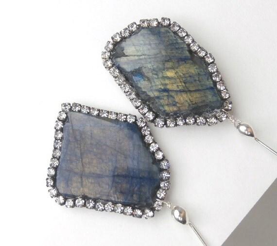 Gemstone Slice Earrings Diamond Bezel Style Earrings Swarovski Crystal Statement Blue Labradorite Post Earrings