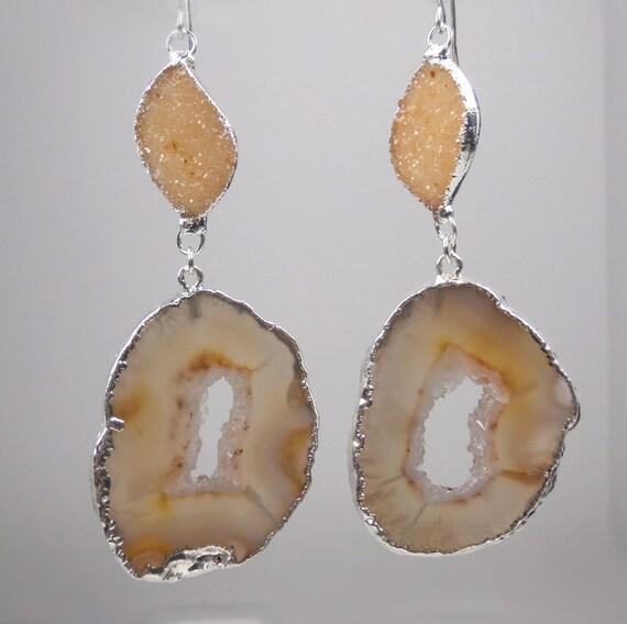 RESERVED for S - Geode Druzy Earrings Dangle Earrings Slice Gemstone Luxury Fall Fashion Jasper Druzy Earrings - Shania