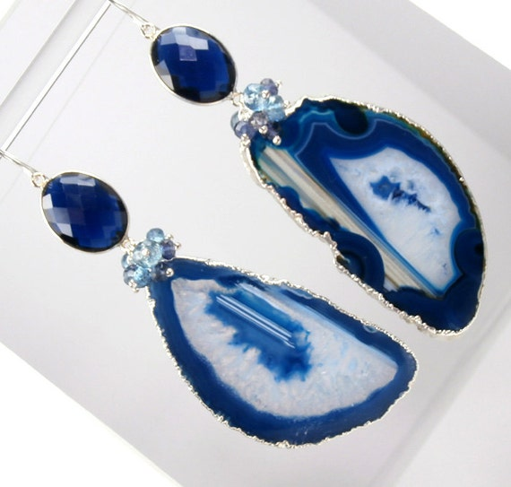 RESERVED - Blue Agate Slice Earrings Long Blue Dangle Earrings Geode Slice Gemstone Luxury Statement Fall Fashion - Angelina