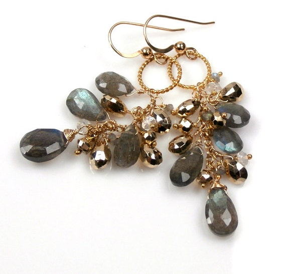 Labradorite Wire Wrapped Dangle Earrings Gold Pyrite 14kt Gold Filled Luxury Fall 2012 Fashion Earrings