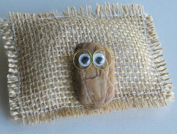 Real Pet Rock wearing glasses funny smile and burlap stuffed bed