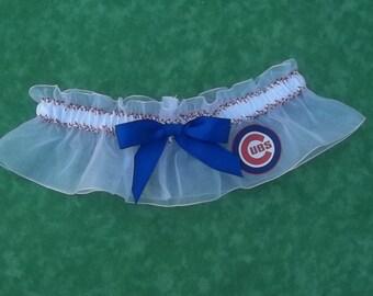 Handmade wedding garter CHICAGO CUBS baseball wedding garter