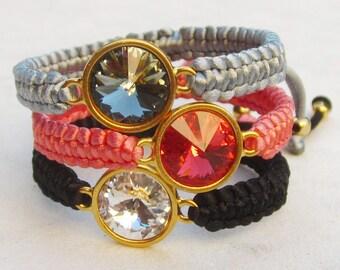 Swarovski crystal friendship bracelet rivoli macrame bracelet stacking bracelet rhinestone