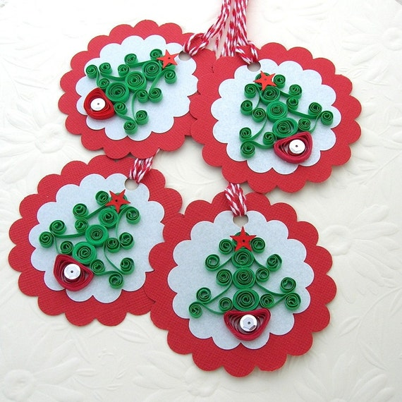 Tags Paper Quilled Green CHRISTMAS Curl Tree  Handmade Christmas Gift Hang Tags Set of 4 by Enchanted Quilling on Etsy