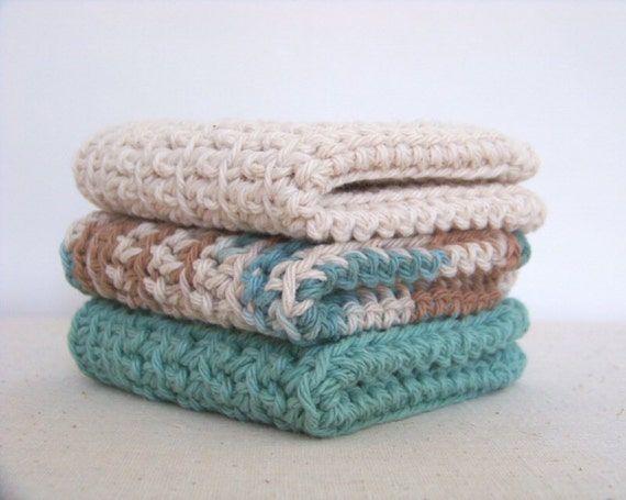 Dish Cloths, Cotton - Tan, Brown, Teal, Matching Set - Crocheted 3 Piece, Woodland